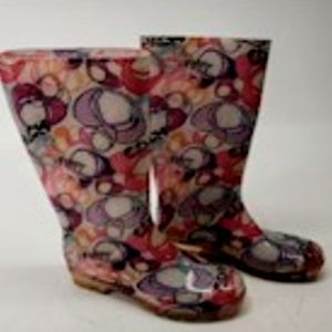 Women coach red rain boots size 10